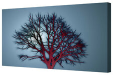 Bold Abstract Deep Red Winter Tree LARGE Canvas Art Picture Wall Hanging Print
