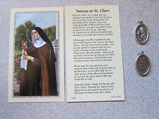 Holy CARD St. Saint Claire Clare Novena + Holy Medal on Chain NEW