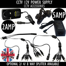 CCTV CAMERA 2 4 8 Way Splitter CABLE DC 12V 2amp 5amp POWER Supply ADAPTER Plug