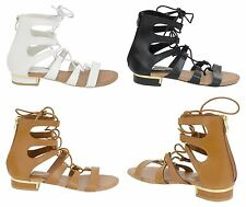 Womens Ladies Ankle Zip Gladiator Flat Sandals Strappy Shoes Size 3-8