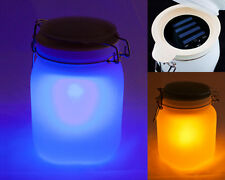 Solar Table Lamp Lantern Jar Rechargeable Light Indoor Outdoor Blue Yellow White