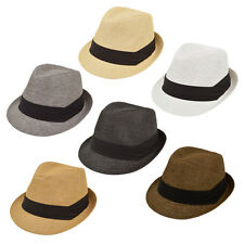 Unisex Classic Fedora Straw Hat with Black Cotton Band - Diff Colors  Avail