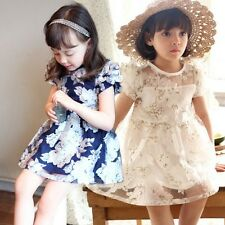 Summer New kids Girl toddler short sleeve dress Baby Girls Flower Mesh Dresses