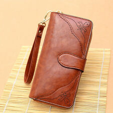 Vintage Genuine Leather Hollow Carved Long Wallet Clutch Women Coin Purse Holder