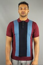 Gabicci Vintage V36GM11 Mens Pattern Knitted 3 Button Polo Shirt Port Red