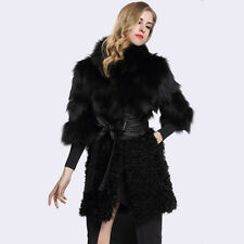 Lady Long Coat 100% Genuine Fox Fur Sheep Fur Hook Jacket Outwear C0009