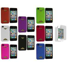 Credit Card ID Hard Rubberized Cover Case+3X LCD Protector for iPhone 4S 4G 4