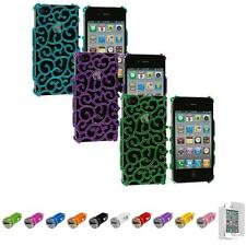 For iPhone 4 4S Floral Flower Design Luxury Case Cover+Car Charger+LCD