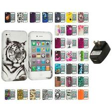 For Apple iPhone 4 4S Hard Design Case Cover Accessory Wall Charger