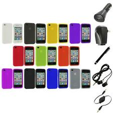 Color Silicone Rubber Gel Skin Case Cover Accessory+Accessories for iPhone 4S 4G