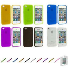 For iPhone 4S 4 TPU Diamond Pattern Color Skin Case Cover+Screen Protector