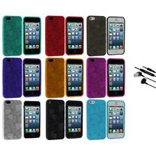 3D Hearts Love Color TPU Rubber Skin Case Cover+Earphone Mic for iPhone 5 5S 5th