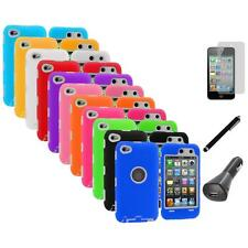 Deluxe Hybrid Case Cover+Protector+LCD+Charger+Pen for iPod Touch 4th Gen 4G 4