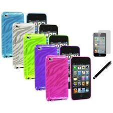 TPU Zebra Rubber Skin Case Cover+LCD Film+Stylus for iPod Touch 4th Gen 4G 4