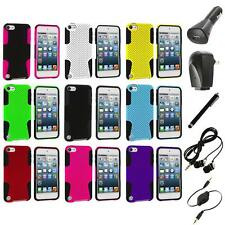Hybrid Mesh Color Hard/Soft Case Cover+Accessories for iPod Touch 5th Gen 5G 5
