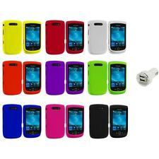 Color Hard Rubberized Cover Case+Dual Charger for Blackberry Torch 9800 9810
