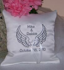 Personalized White Wedding Ring Bearer Pillow w Embroidered Angel Wings Ring Boy