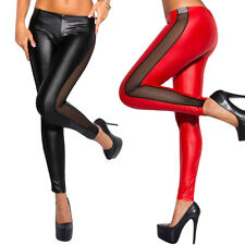 Summer High Waist Side Open Pant Faux Imitation Leather Legging for Sexy Ladies
