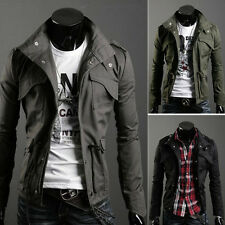 HOT Fashion Mens Zip Button Military Slim Fit Collar Jacket Hooded Coat Outwear