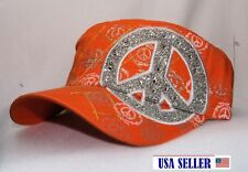 NWT CAP Custom Bling Sports Peace Symbol with Adjustable back - Color ORANGE