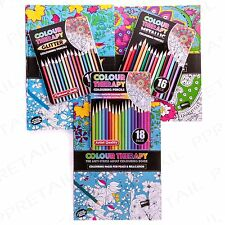 HUGE RANGE Colour Therapy Adult Colouring Book & Pencils For Stress Relief Relax