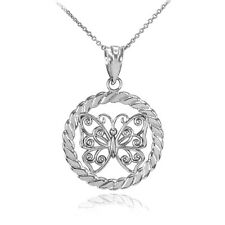 14k White Gold Filigree Butterfly in Circle Rope Pendant Necklace