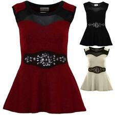 Ladies Crepe Glitter Mesh Jewelled Insert Women's Peplum Cut Out Back Flare Top