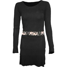 Plain Fitted Longsleeve Lace Waist Dress, 90% Viscoes, 10% Elastan, tight fit
