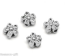 Gift Wholesale Silver Tone Flower Charms Spacers Beads 7mm