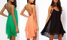 Ladies Sexy Backless Chiffon Strapless Party Evening Clubwear Mini Dress New