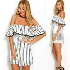 Sexy Women Chiffon Stripe Ruffle Sleeve Off Shoulder Mini Dress Tunic Tops Dress