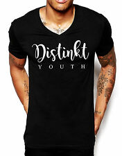 Distinkt Youth Script V Neck T Shirt Fitted Men Ibiza Clubbing Top Deep Muscle