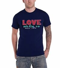 The Beatles Mens T Shirt Blue All You Need Is Love Words Official