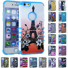 "For iPhone 6 6S 4.7"" HARD SOFT HYBRID SILICONE SHOCK PROOF COVER CASE DESIGN"