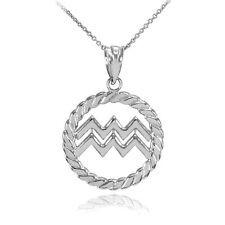 White Gold Aquarius Zodiac Sign in Circle Rope Pendant Necklace