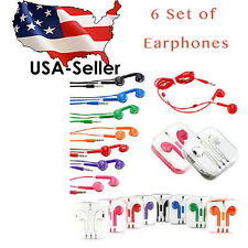 6 X Earphone Earbud Headset Headphone with Mic for Apple iPhone 5 6 6S iPod 3.5