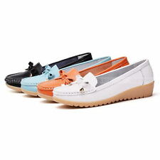 Women Leather Single Shoes Boat Shoes Slip On Loafers Fashion Lady Flats Shoes