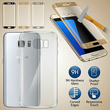 Ultra Slim  Gel Skin Case Cover & Full Curved Tempered Glass for Samsung Galaxy