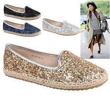 Ladies Flats Womens Espadrilles Girls Slip On Pumps Glitter Plimsoles Shoes Size
