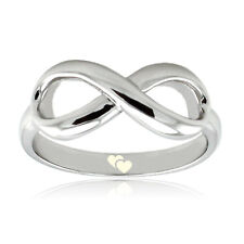 Sterling Silver 925 Couples Love Double Heart Symbol Infinity Wedding Ring