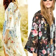 Sexy Women Floral Chiffon Kimono Cardigan Half Sleeve Bikini Cover Up Beach Tops