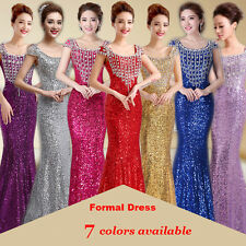 Long sequins Gown Bridesmaid Dress Formal Evening Cocktail Party Prom Dresses