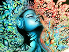 MUSIC FLAME Girl Painting Cool Art Gigantic Print POSTER