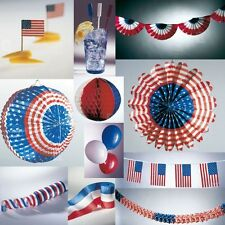 """USA Party Decoration America France Blue White Red """"Stars & Stripes"""" Various"""