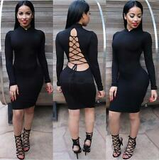 Sexy Women Lady Backless Solid Color Long Sleeve Cocktail Party Slim Mini Dress