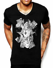 Distinkt Youth White Knight V Neck T Shirt Mens Printed Graphic Illustration