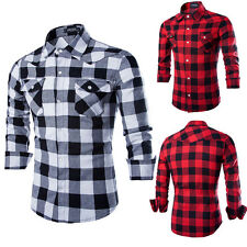 Mens Cotton Casual Shirt Stylish Slim Fit Long Sleeve Casual Dress Shirts Top  X