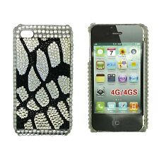 RHINESTONE DIAMANTE BLACK AND WHITE LEOPARD HARD BACK CASE FOR APPLE IPHONE 4/4S