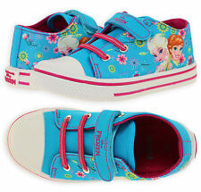 Girls Official Frozen Trainers New Kids Turquoise Disney Princess Shoes UK7.5-12