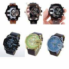 Mens Watches Big Case Quartz Dial PU Leather Rubber Strap Band Wrist Watches